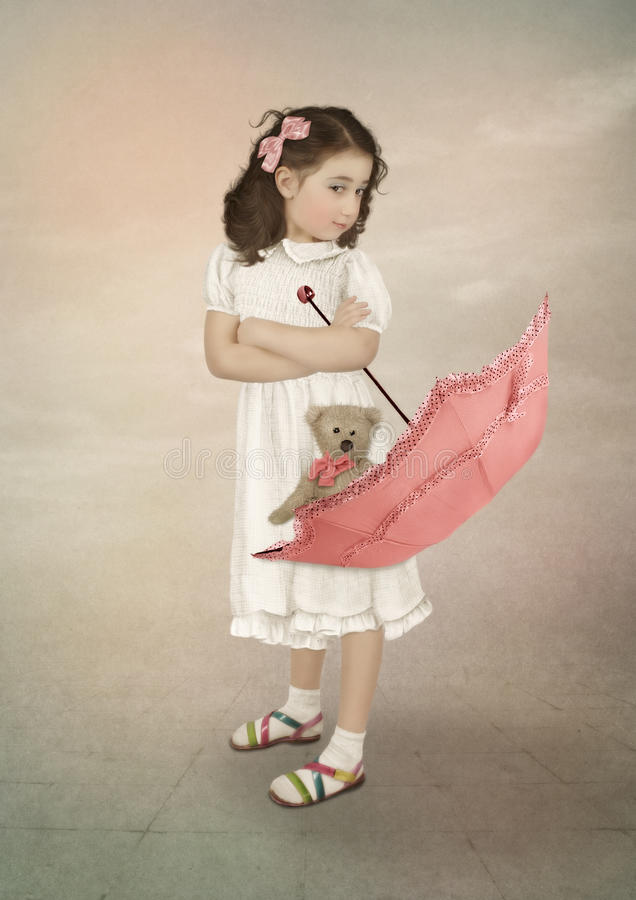 Muchacha y paraguas imagen de archivo libre de regalías