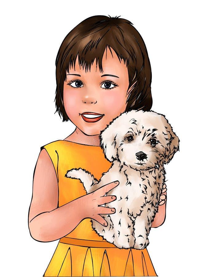 Muchacha y perrito lindos, muchacha linda, perrito lindo, perro, niño lindo de la muchacha, animal, humano, niño, dueño del anima ilustración del vector