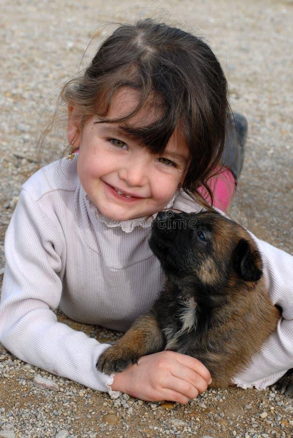 Muchacha y perritos de risa foto de archivo