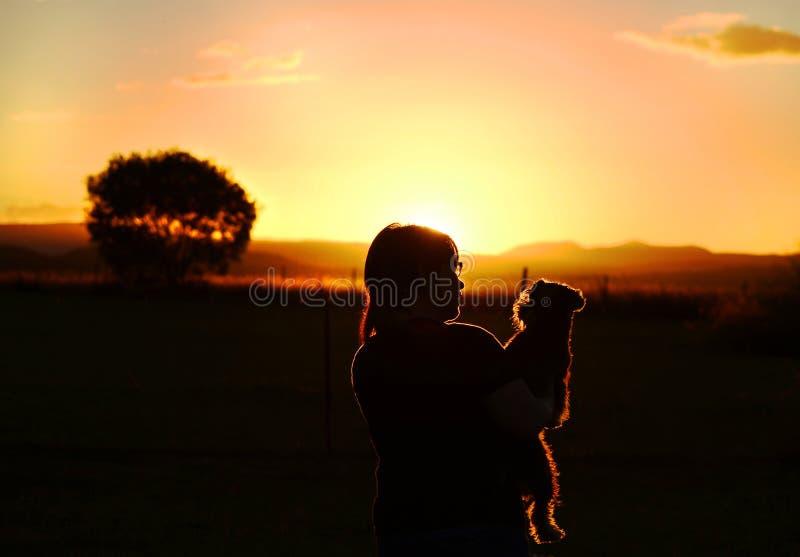 Muchacha y perro casero que gozan mirando puesta del sol sobre las montañas en país fotos de archivo libres de regalías