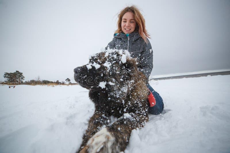 Muchacha y perro felices en nieve del invierno Días de fiesta maravillosos en naturaleza foto de archivo libre de regalías
