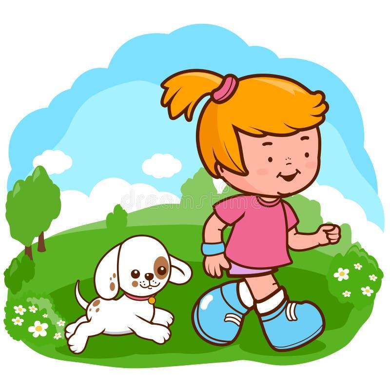 Muchacha y perro que corren en el parque stock de ilustración
