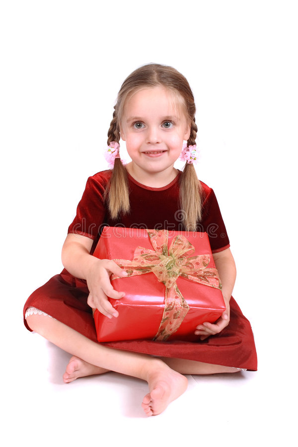 Muchacha y presente foto de archivo libre de regalías