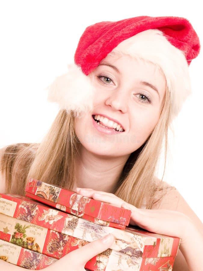 Muchacha y rectángulo de la Navidad. fotografía de archivo libre de regalías
