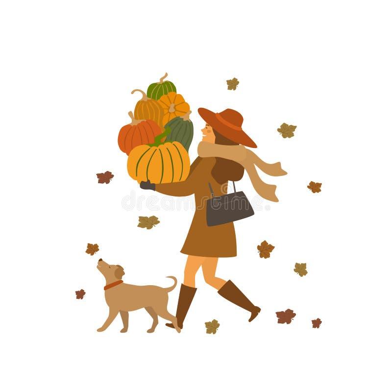 Muchacha y un perro que camina con escena aislada caída del ejemplo del vector del otoño de las calabazas ilustración del vector