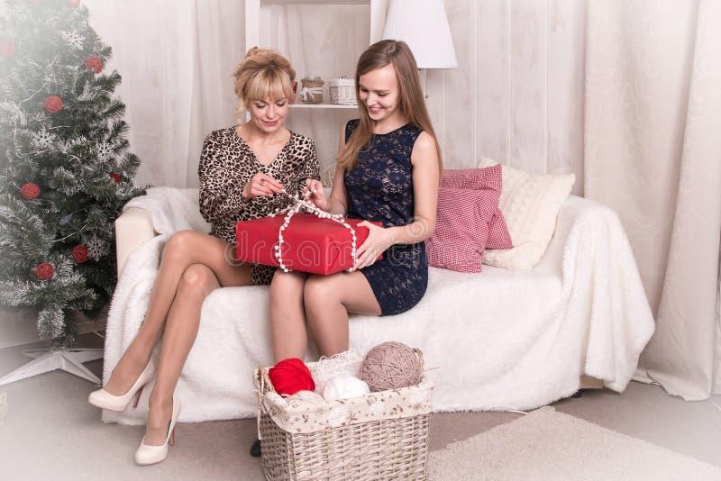 Muchachas agradables en el cuarto antes de la Navidad foto de archivo libre de regalías
