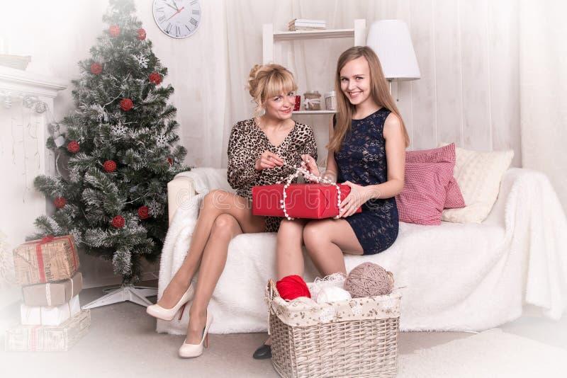 Muchachas agradables en el cuarto antes de la Navidad imagen de archivo libre de regalías