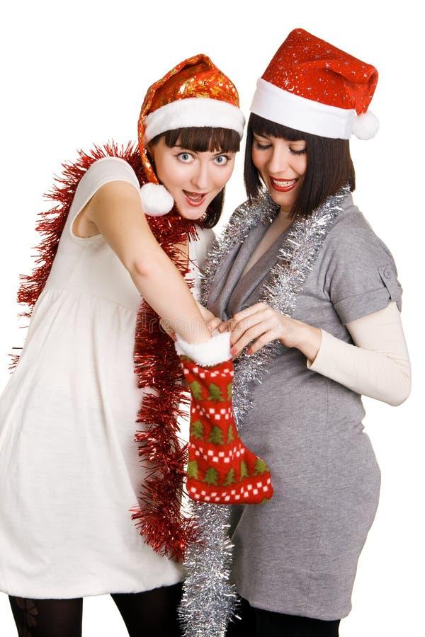 Muchachas alegres de la Navidad fotos de archivo libres de regalías