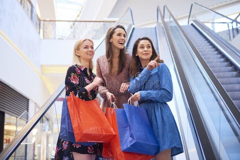Muchachas alegres en centro comercial durante compras grandes imagen de archivo libre de regalías