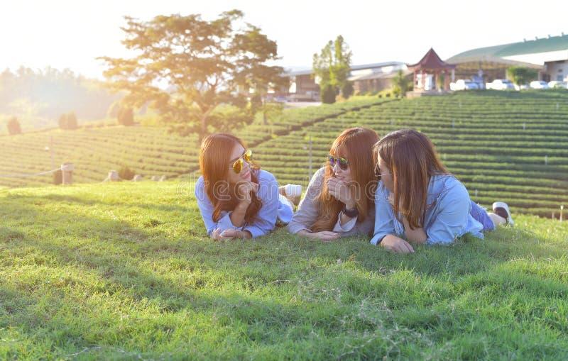 muchachas asiáticas que ponen en la hierba verde bajo luz del sol, w fotografía de archivo libre de regalías