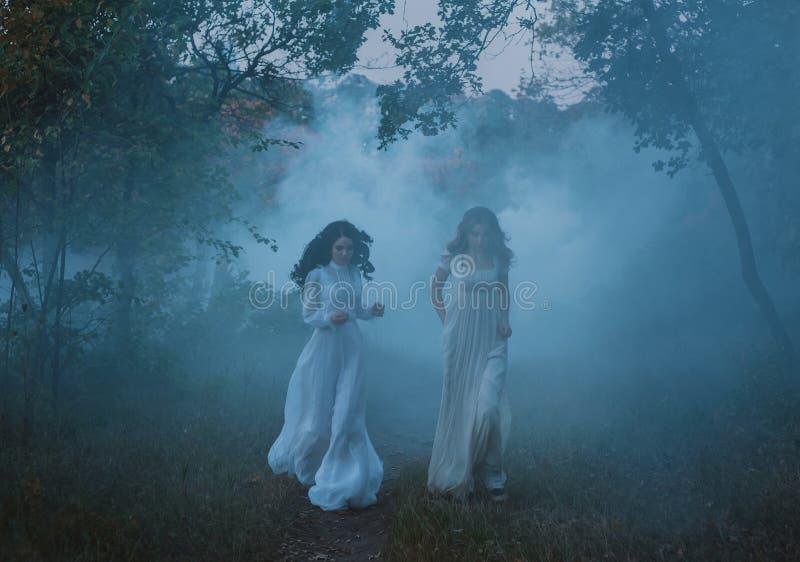 Muchachas asustadas en vestidos del vintage imagenes de archivo