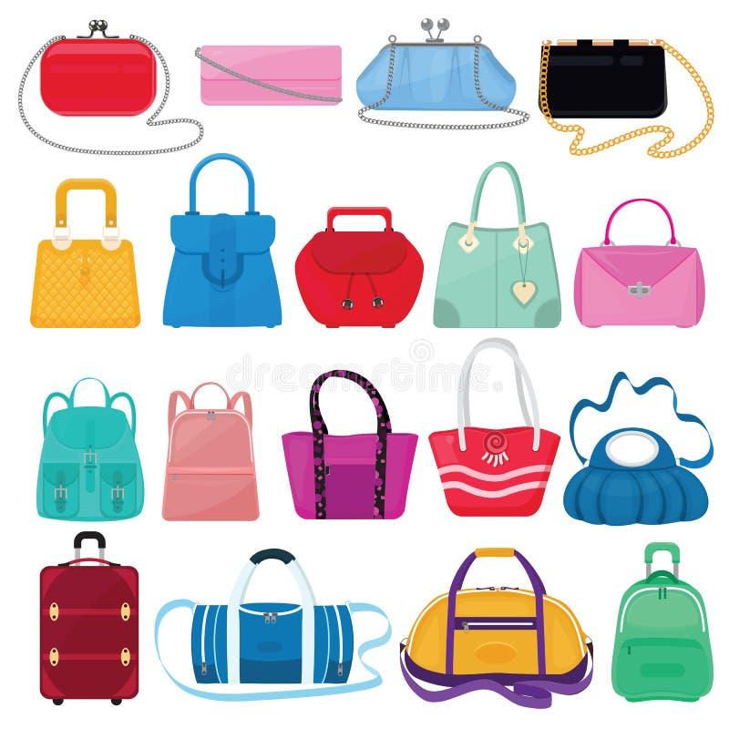 Muchachas bolso o monedero y panier o embrague del vector del bolso de la mujer del sistema holgado del ejemplo de la tienda de l ilustración del vector