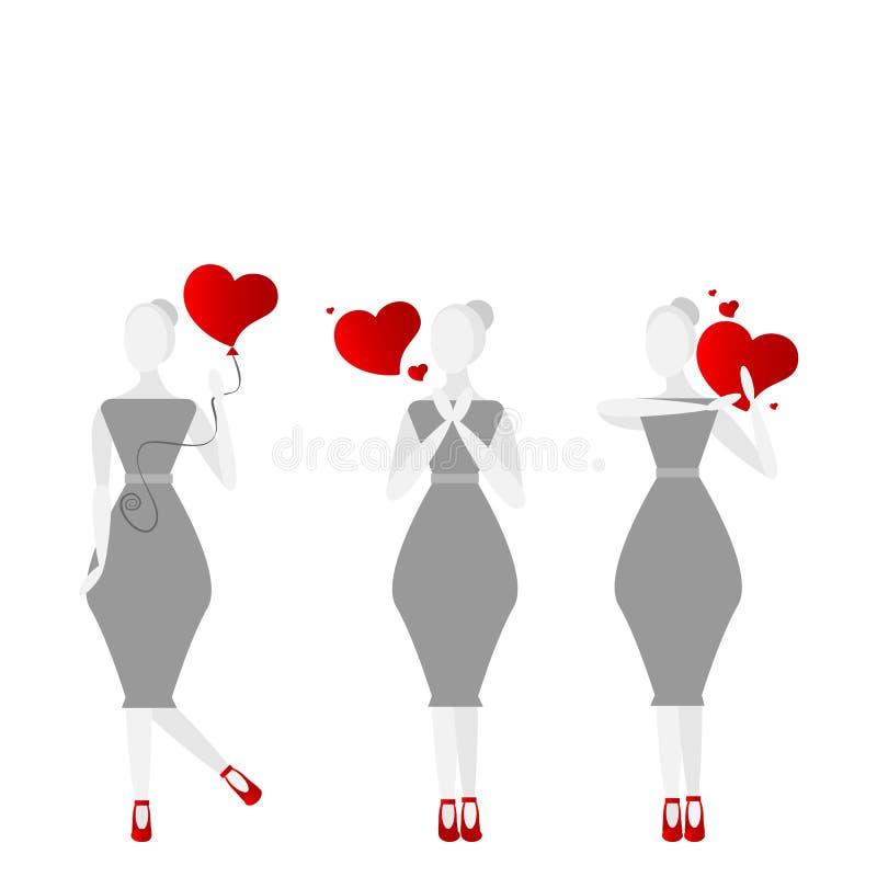 Muchachas con el ejemplo lindo de la historieta del día de tarjetas del día de San Valentín de los corazones stock de ilustración