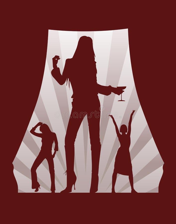 Muchachas de baile en el rectángulo del teatro stock de ilustración