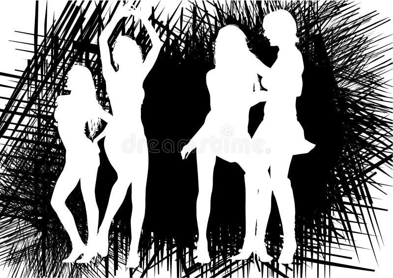 Muchachas de baile en negro libre illustration