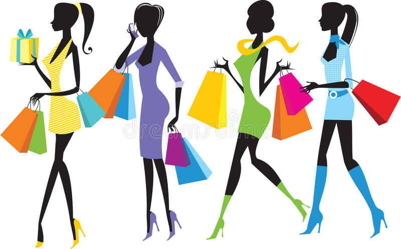 Muchachas de compras ilustración del vector