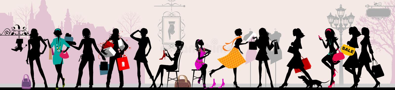 Muchachas de compras, París. libre illustration