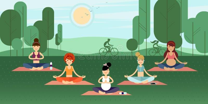 Muchachas de la yoga stock de ilustración