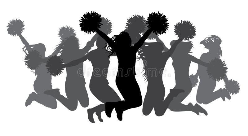 Muchachas de salto con los pom-poms Siluetas de animadoras Ilustraci?n del vector ilustración del vector