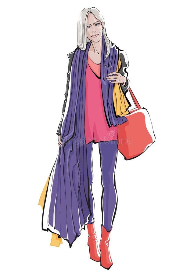 Muchachas del bosquejo de la moda Mujeres elegantes del dibujo de la mano con el panier Ilustración del vector foto de archivo libre de regalías