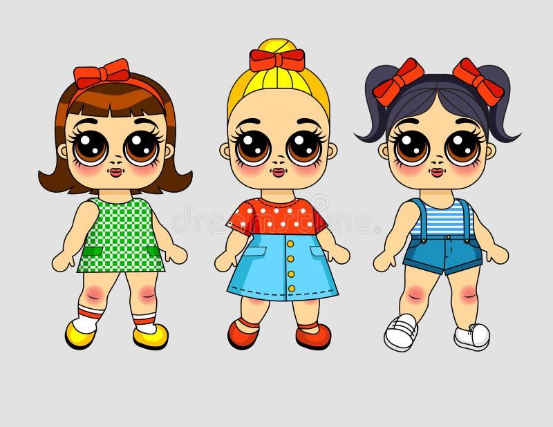 Muchachas del ejemplo tres del vector del color en diversa ropa ilustración del vector