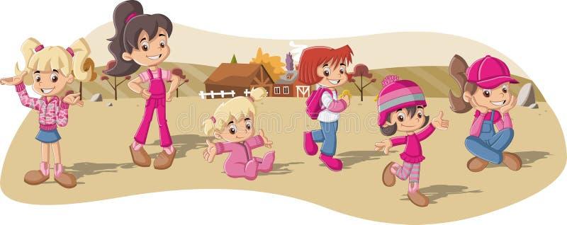 Muchachas del granjero en una granja ilustración del vector
