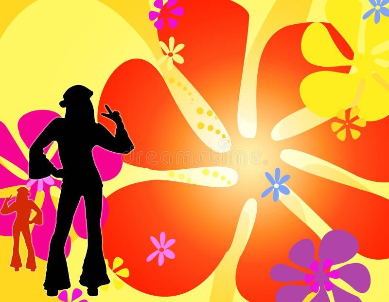 Muchachas del hippie de la silueta del baile stock de ilustración
