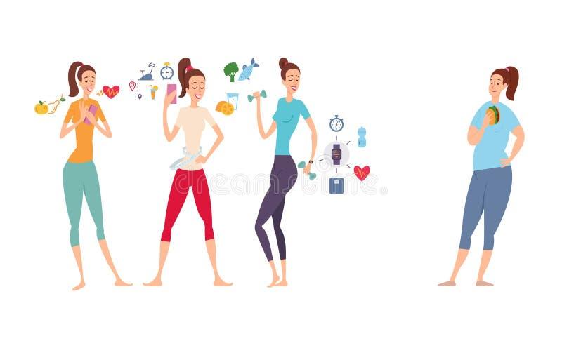Muchachas delgadas y atléticas y su novia gorda que comen un bocadillo ilustración del vector