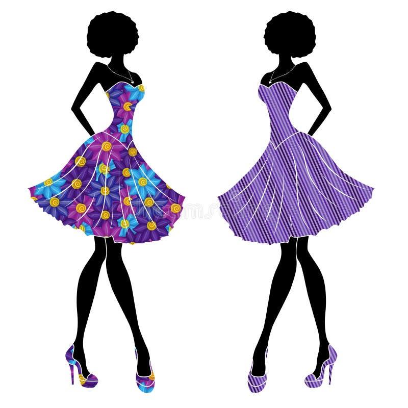 Muchachas Elegantes Delgadas En Vestidos Cortos Ilustración del ...