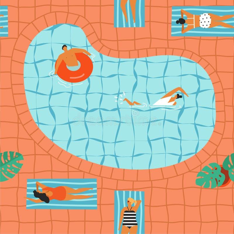 Muchachas en bikini que toman el sol y que nadan en el ejemplo de la piscina en vector ilustración del vector