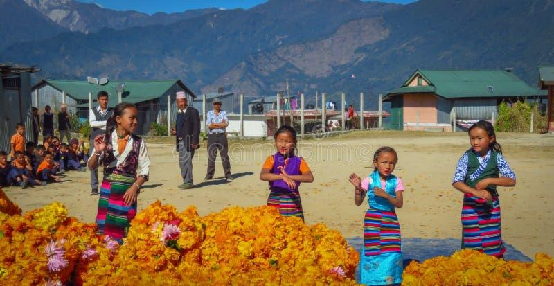 Muchachas en la danza tradicional del vestido para los compañeros de clase, profesores y visitantes, numéricos, Nepal imagen de archivo