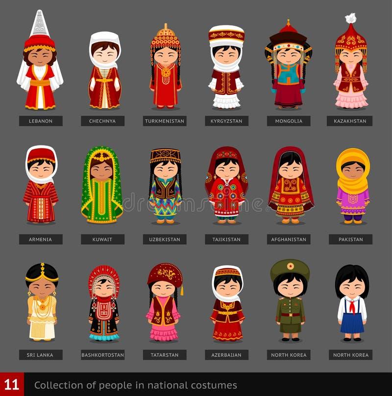 Muchachas en trajes nacionales libre illustration