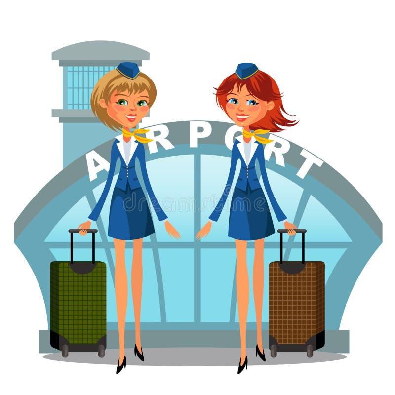 Muchachas en uniforme con las maletas en manos, personales del tráfico aéreo, línea aérea del asistente del edificio y de vuelo d stock de ilustración