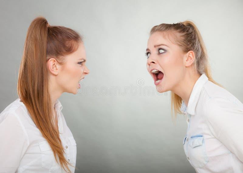 Muchachas enojadas de la furia que gritan en uno a foto de archivo libre de regalías