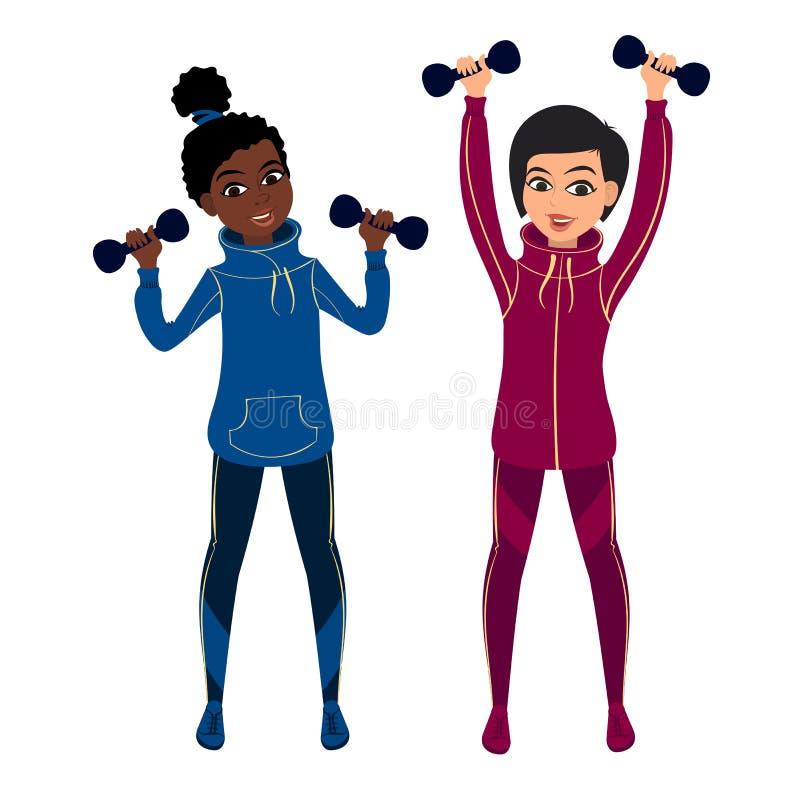 Muchachas exersing con pesas de gimnasia stock de ilustración