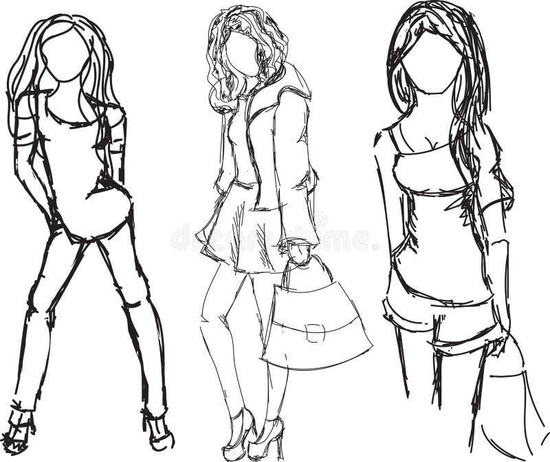 Muchachas exhaustas de la moda en diversas posturas ilustración del vector