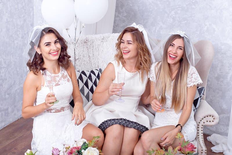 Muchachas felices que se divierten, champán de consumición, gallina-partido imagenes de archivo