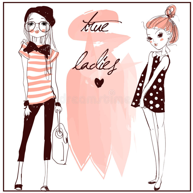 Muchachas lindas de la moda stock de ilustración