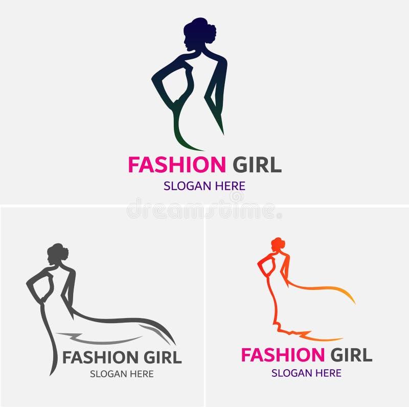 Muchachas Logo Template de la moda stock de ilustración