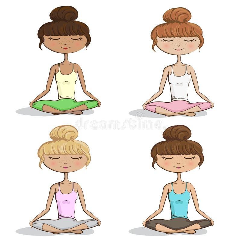 Muchachas/mujeres que practican la yoga - ejemplo eps10 determinado del vector stock de ilustración