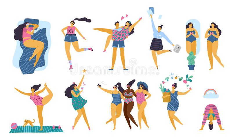 Muchachas positivas del cuerpo feliz con la forma de vida sana que hace yoga, deporte, amor y la diversión ilustración del vector