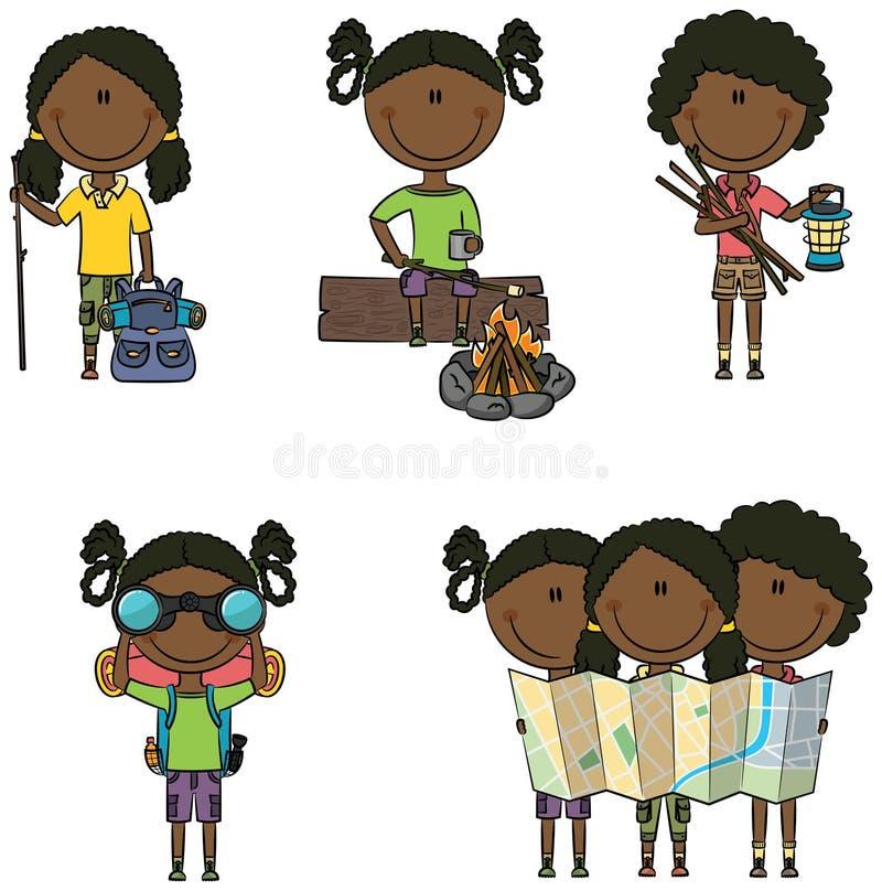 Muchachas que acampan del afroamericano libre illustration