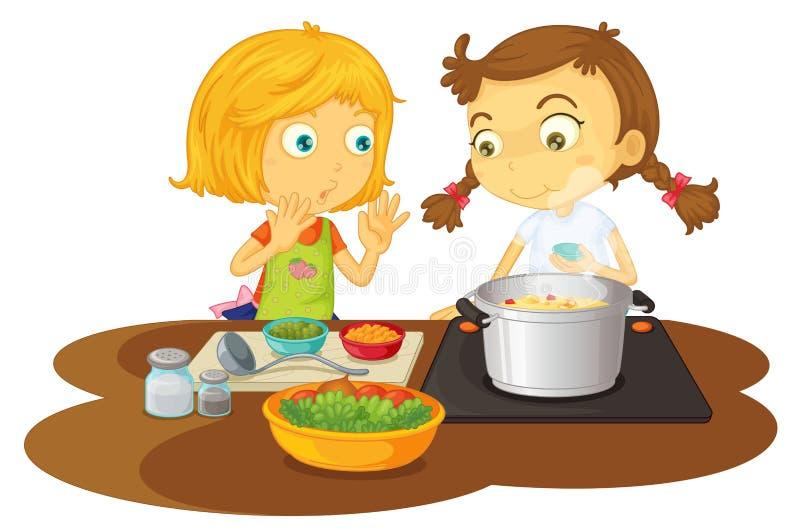 Muchachas que cocinan el alimento ilustración del vector