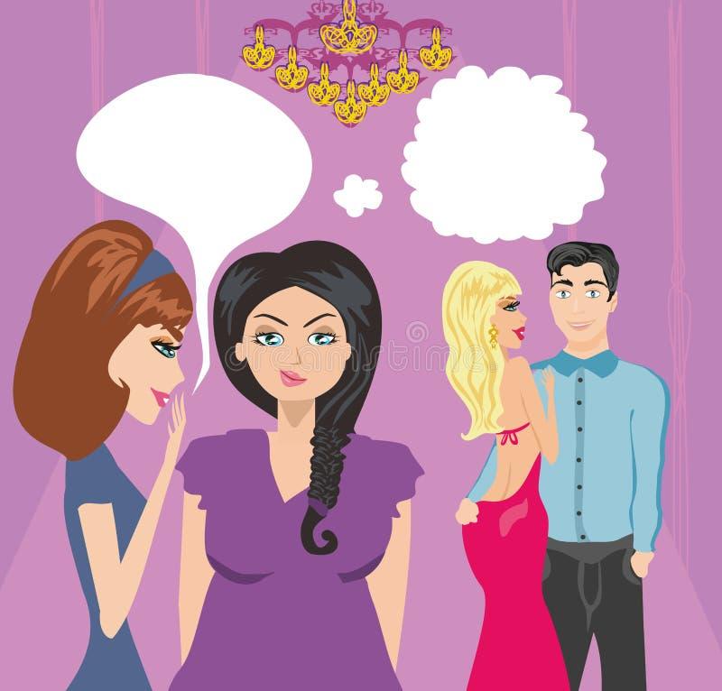 Muchachas que cotillean alrededor de un par de amantes libre illustration