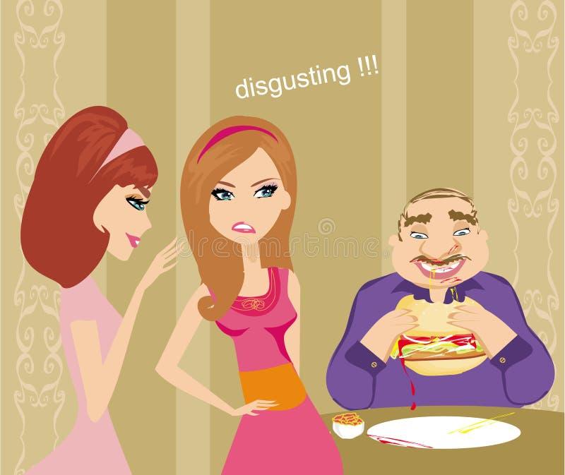 Muchachas que cotillean sobre individuo gordo libre illustration