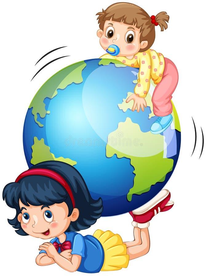 Muchachas que juegan con el globo ilustración del vector