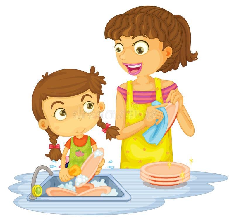 Muchachas que lavan las placas stock de ilustración