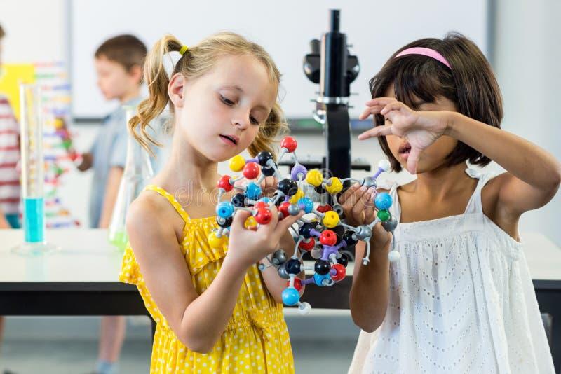 Muchachas que miran el modelo de la DNA foto de archivo libre de regalías