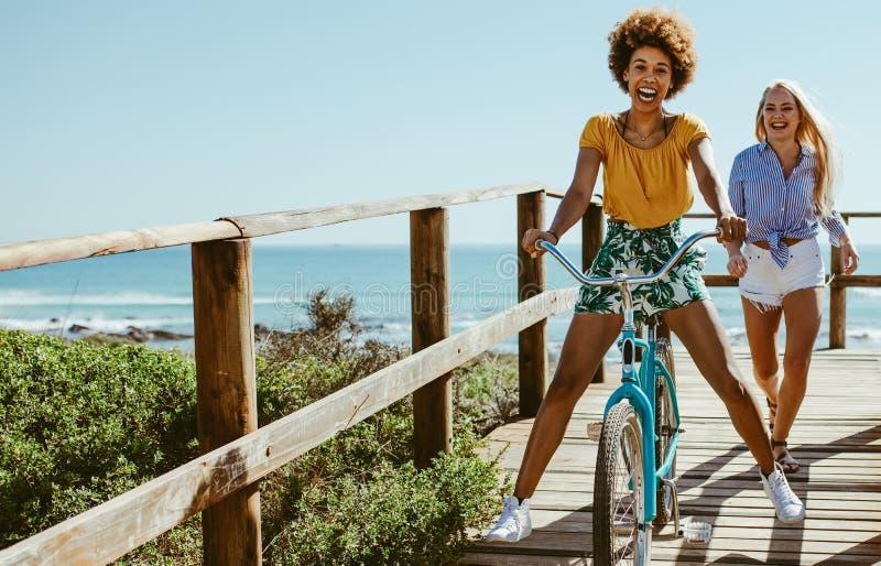 Muchachas que se divierten con la bici en paseo mar?timo fotos de archivo