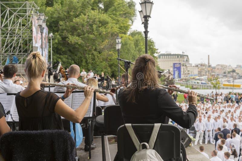 Muchachas que tocan la flauta en el parque Mujer que toca la flauta juego en una flauta del instrumento musical en el evento la f imagen de archivo